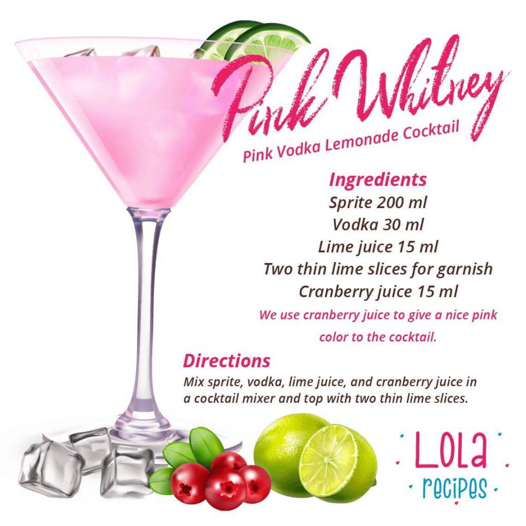 Pink Vodka Lemonade Cocktail ( Pink Whitney) Recipe Card