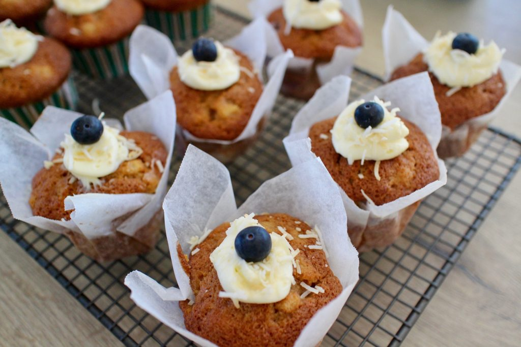 Banana and Blueberry Muffin Directions